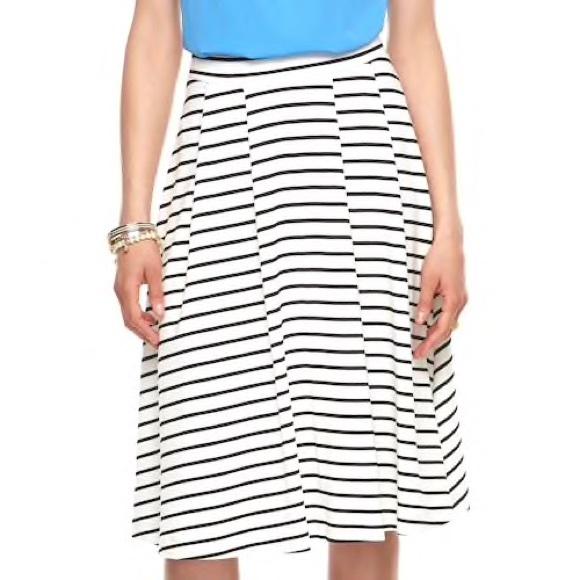 307986bfe0 Elle Skirts | White Black Striped Pleated Skirt Size S | Poshmark
